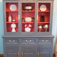 Diy Refinish Kitchen Cabinets Lamps For The Ivory And Blue Painted China Hutch - Daily Dose Of Style