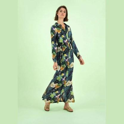 Pom Amsterdam Flower Play Emerald Dress