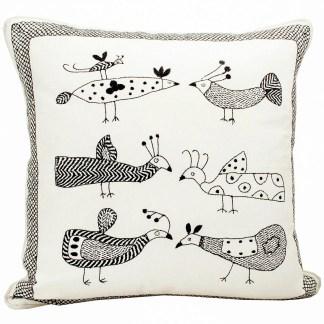 Afro Art Embroidered Bird Cushion | Fairtrade | Restoration Yard
