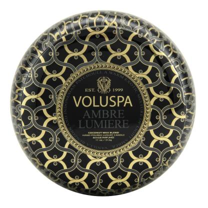 Ambre Lumiere 2 Wick Tin Candle By Voluspa | Restoration Yard