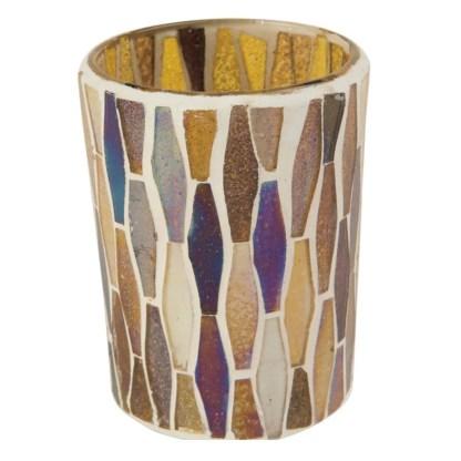 Ian Snow Lustre Glass Mosaic Votive Gold   Restoration Yard