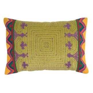 Ian Snow Olive Embroidered Cushion Velvet | Restoration Yard