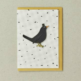 Embroidered Black Bird Greeting Card by Petra Boase | Restoration Yard
