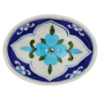 Soap Dish Dark Blue Light Blue Flower by Tranquillo | Restoration Yard