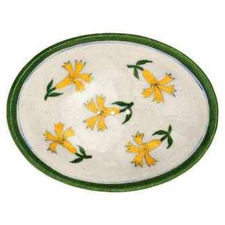 Soap Dish Green Rim Yellow Flower by Tranquillo | Restoration Yard