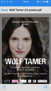 Restore's Simon Newton to chair discussion on mental health @ Old Fire Station after performance of Wolf Tamer @ Old Fire Station   England   United Kingdom