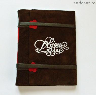 jurnal handmade piele intoarsa maro