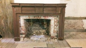 East Parlour fireplace, with hearth and rear of fire box repaired May 2015