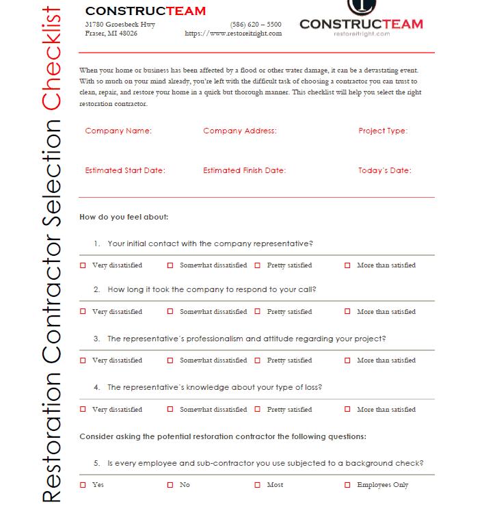 Constructeam Restoration Contractor Selection Checklist