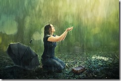 Woman and rain shower