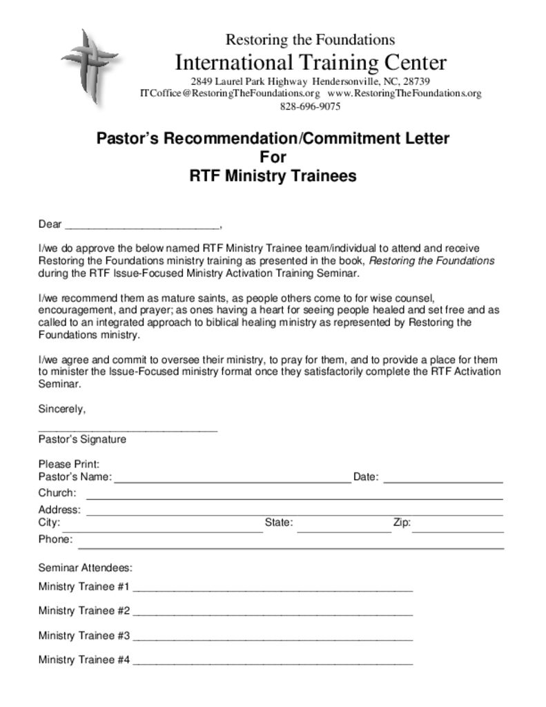 recommendation letter from pastor
