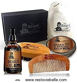 Beard Care Kit + Comb + Brush + Oil + Luxury Gift Box Easy Grooming