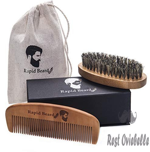 Beard Brush and Beard Comb kit for Men Grooming, Styling & Shaping - Handmade Wooden Comb and Natural Boar Bristle Beard Brush Gift set for Men Beard & Mustache Care by Rapid Beard