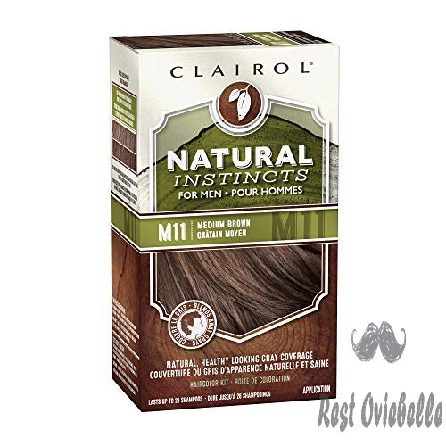 Clairol Natural Instincts Semi-Permanent Hair Color Kit For Men, 3 Pack, M11 Medium Brown Color, Ammonia Free, Long Lasting for 28 Shampoos  Image