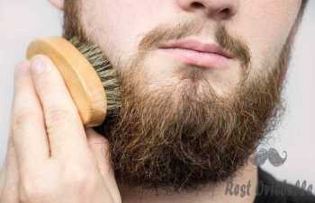 hand of barber brushing beard. barbershop customerfront view. beard grooming tips for beginners. - beard combs s and pictures Before Buy: Understand The Difference Between Beard Combs And A Brush