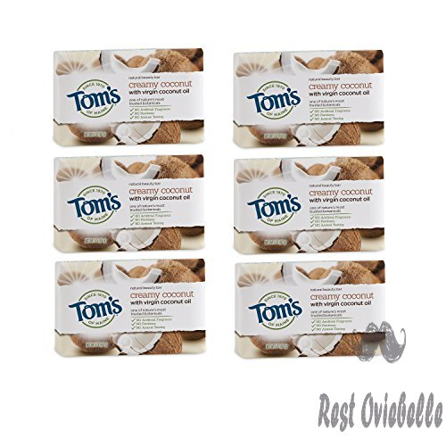 Tom's of Maine Natural Beauty Bar, Bar Soap, Natural Soap, Creamy Coconut with Virgin Coconut Oil, 5 Ounce, 6-Pack