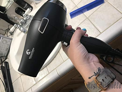 Magnifeko 1875W Professional Hair Dryer with Ionic Conditioning - Powerful, Fast Hairdryer Blow Dryer - 2 Speeds, 3 Heat Settings (black silver) Customer Image