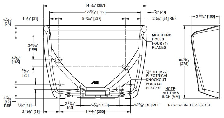 ASI (10-0185) Profile, Brushed SS Cover, Surface Mount
