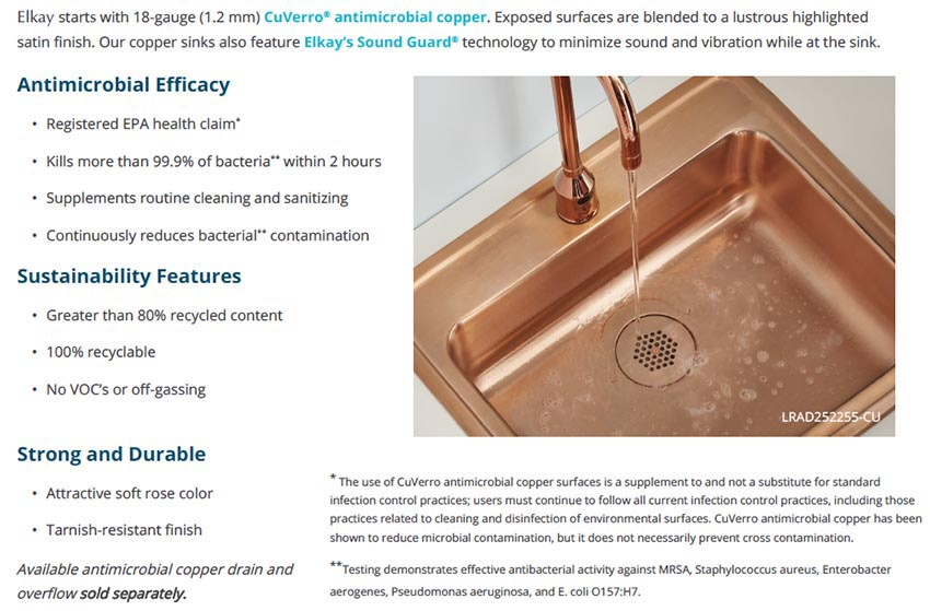 elkay lrad2219603 cu cuverro antimicrobial copper single bowl drop in sink for commercial healthcare use