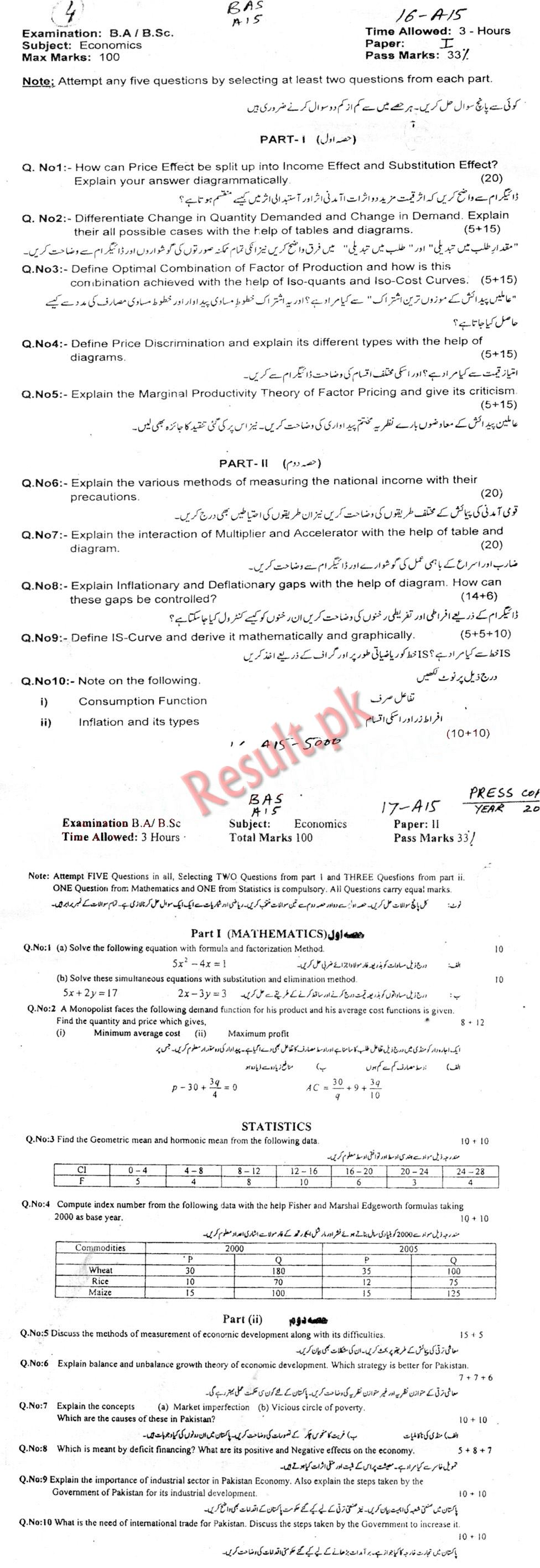 Bahauddin Zakariya University Past Papers 2018, 2017, 2016