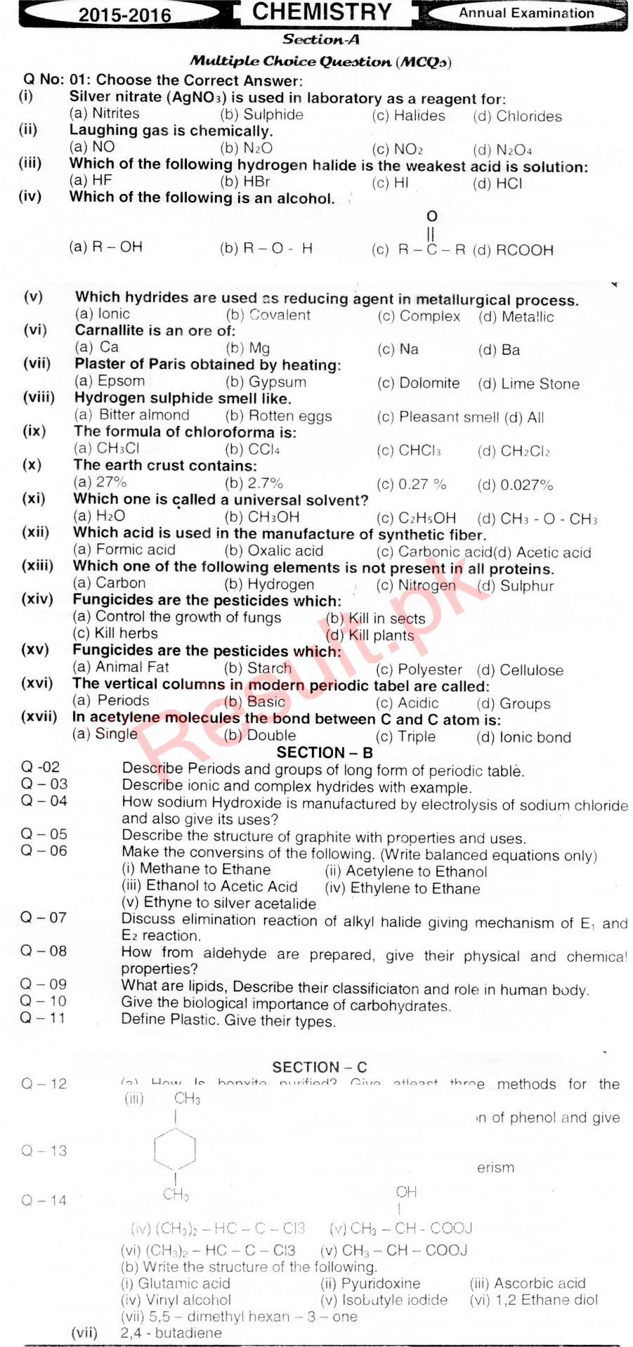 BISE Hyderabad Board Past Papers 2019 Inter Part 1 2, FA
