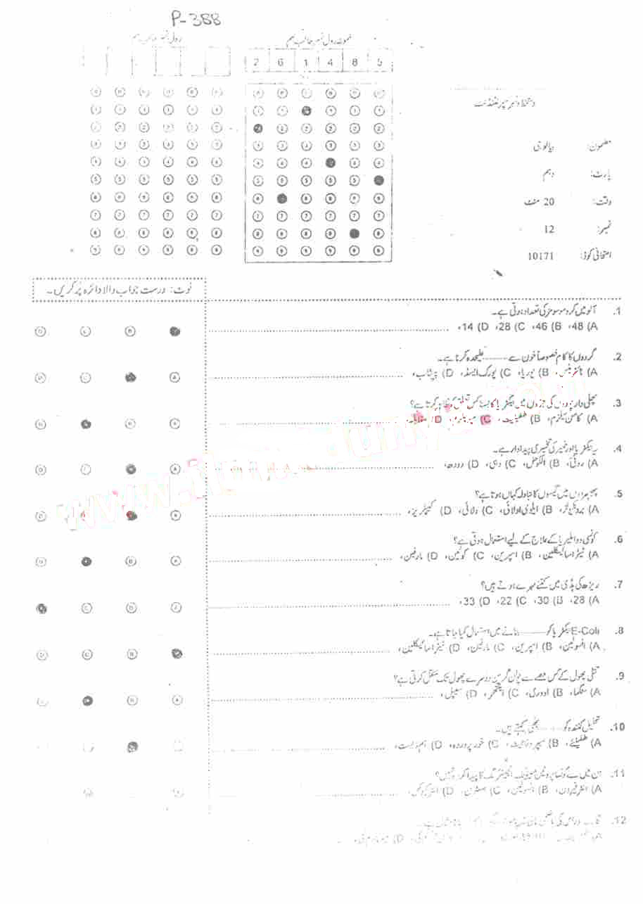 BISE Abbottabad Board Past Papers 2019 Matric, SSC Part 1