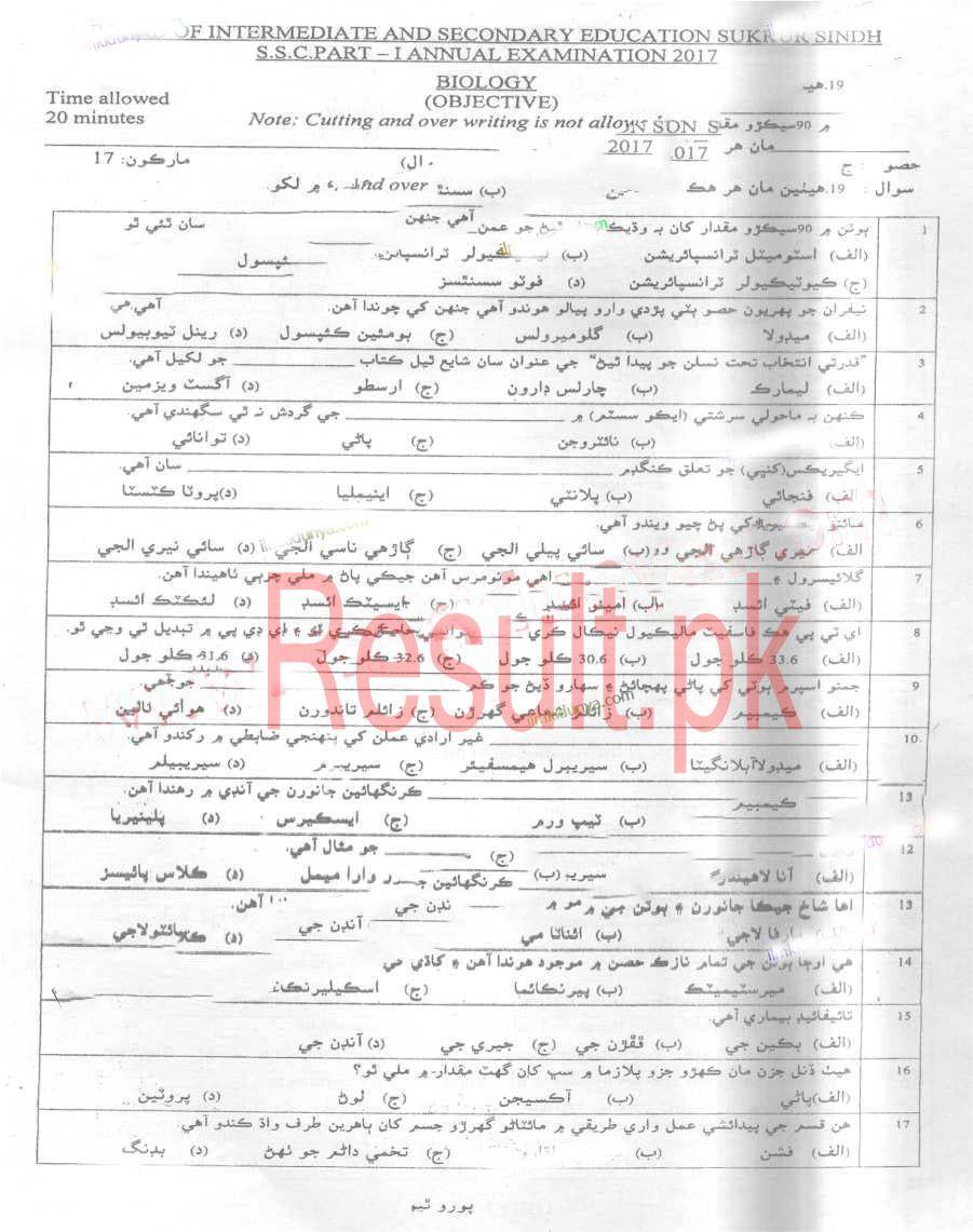 BISE Sukkur Board Past Papers 2019 Matric, SSC Part 1 & 2