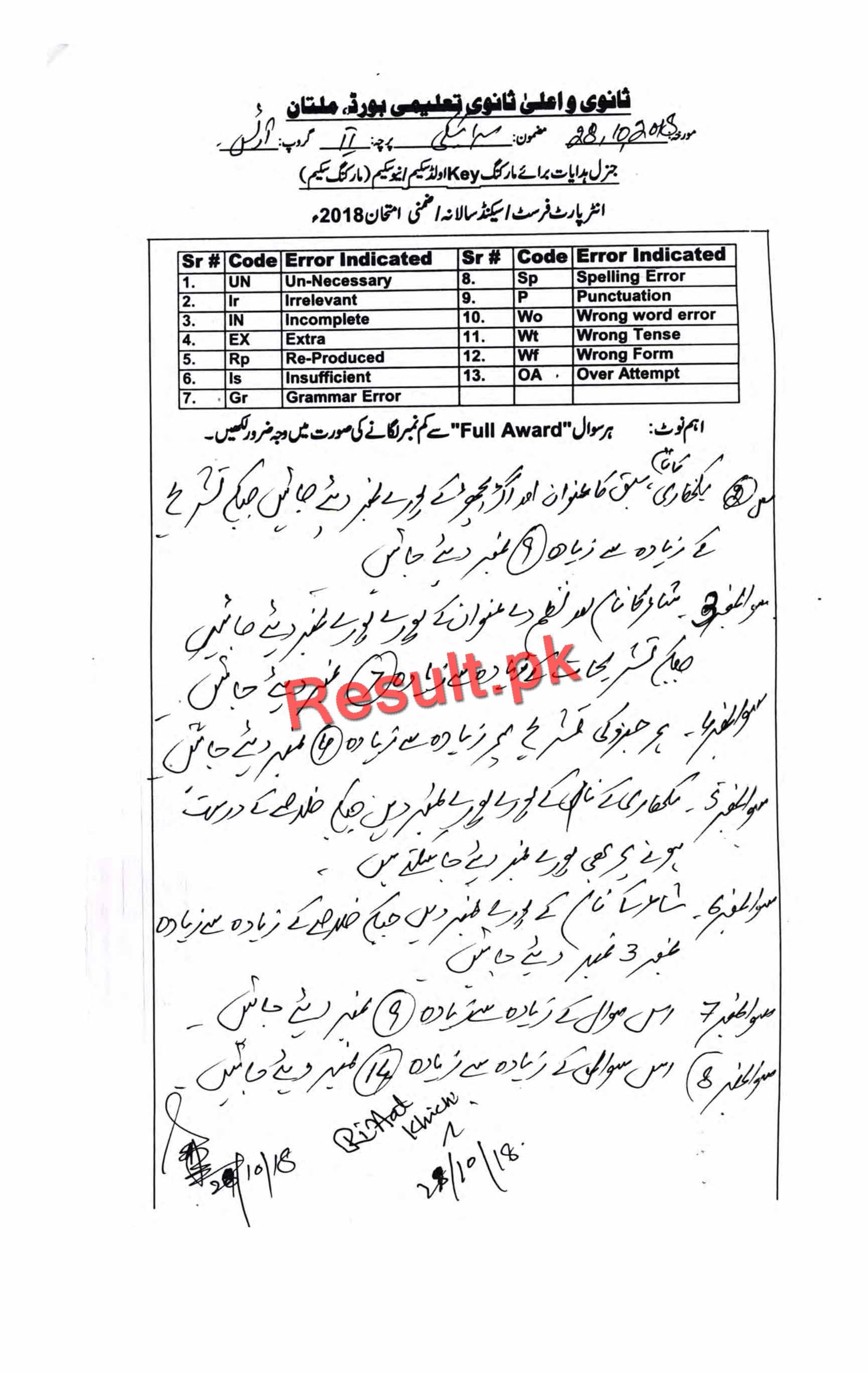 BISE Multan Board Past Papers 2019 Inter Part 1 2, FA