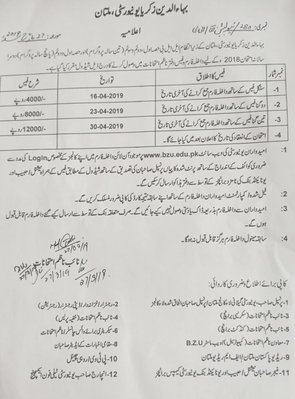 Bahauddin Zakariya University Admissions 2019 in School