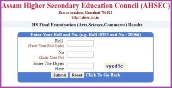 www ahsec nic in Result 2021 Marksheet