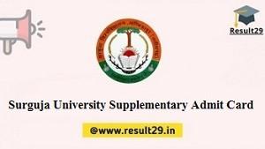 Surguja University Supplementary Admit Card