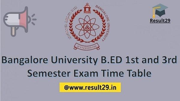 Bangalore University B.ED Time Table