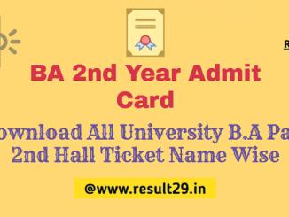 BA 2nd Year Admit Card