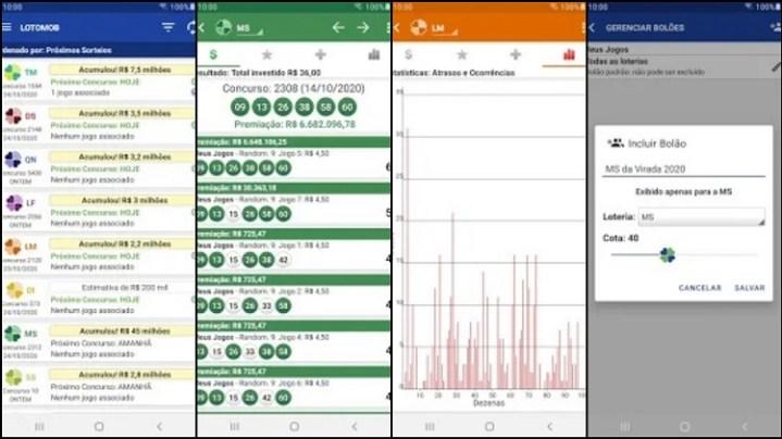 prints de tela do app LotoMob
