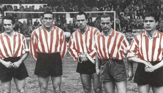 la mejor delantera del At. Bilbao de los años 50:Iriondo,Venancio,Zarra, Panizo y Gainza