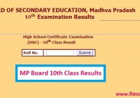 MPBSE MP Board 10th Class Results 2020