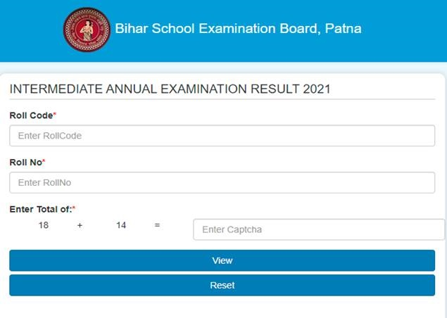 bihar board 12th result 2021 website