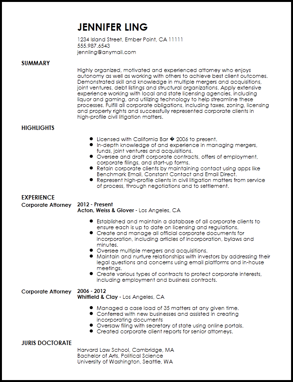 resume of lawyer examples