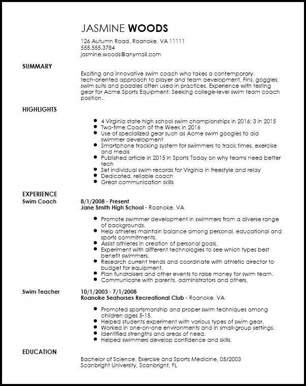 example of how us write resume