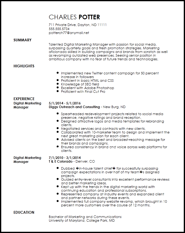 experienced resume objective examples