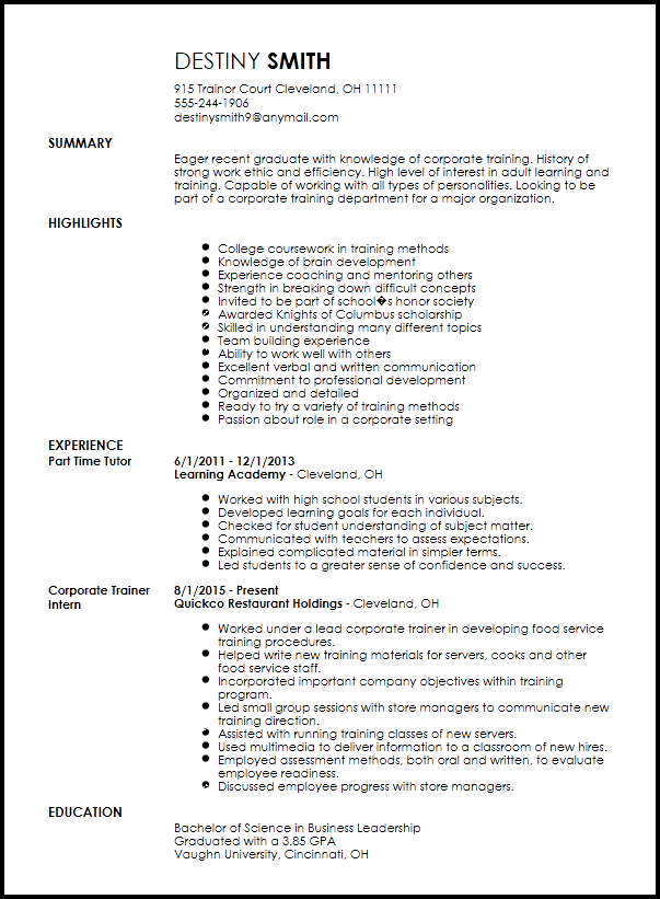 Personal Trainer Resume Template