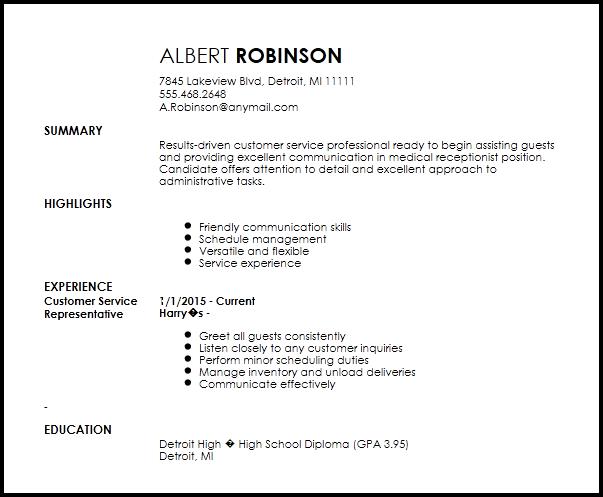 resume examples receptionist skills