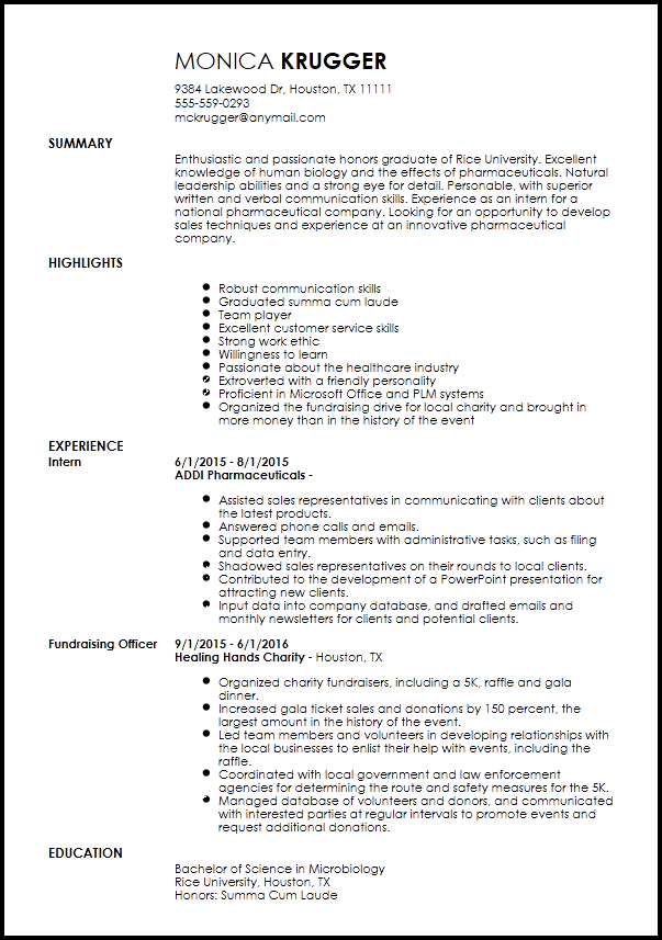 Free Entry Level Medical Sales Representative Resume