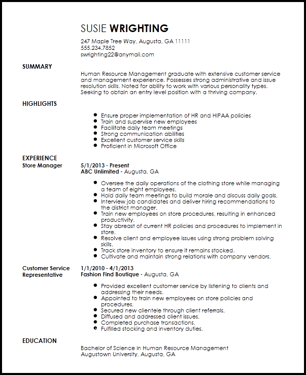entry level human resources assistant resume sample