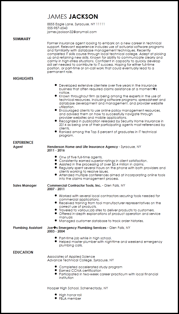 resume sample of tech support