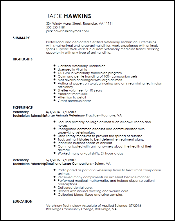 Free Entry Level Veterinary Technician Resume Template
