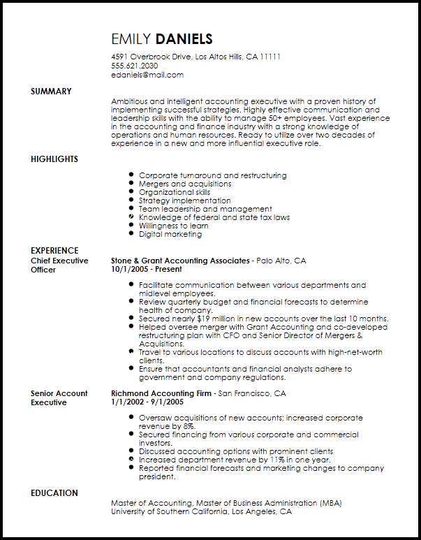 finance resume summary examples