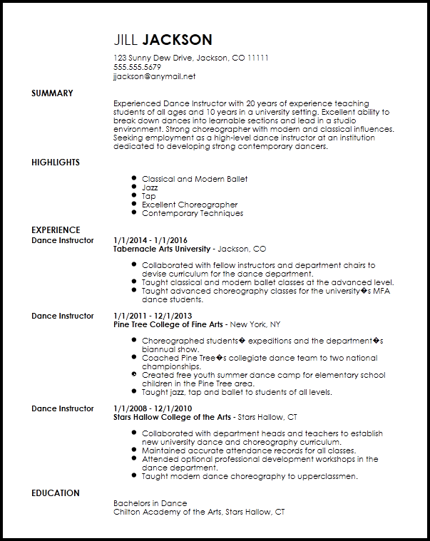 Free Professional Dancer Resume Template  ResumeNow