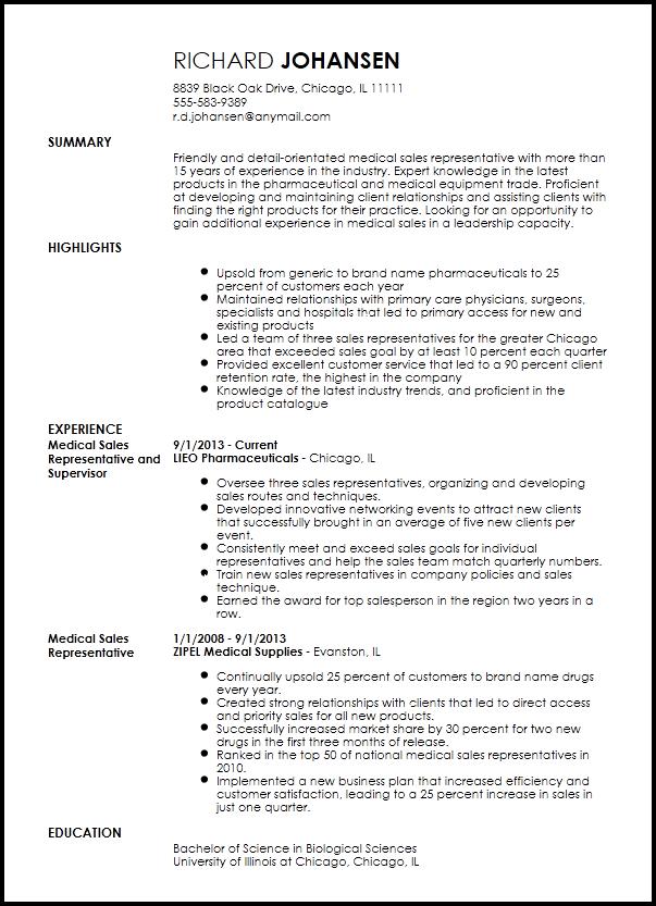 Free Professional Medical Sales Representative Resume