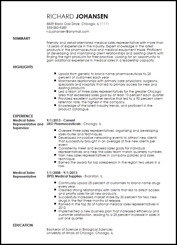 medical device sales resume templates
